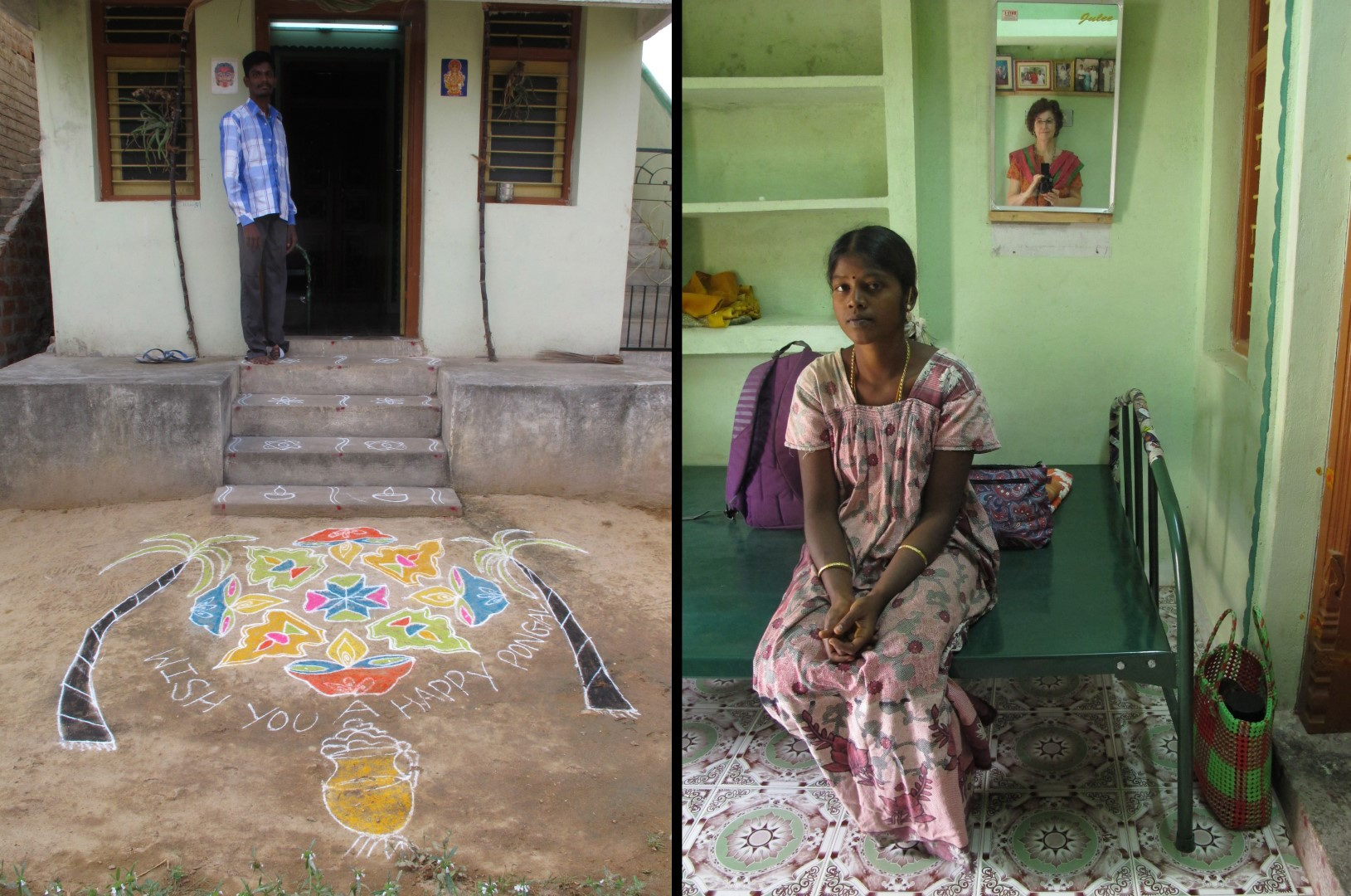 My thambi, Ravi, in front of his house | Indurani and I inside Ravi's house