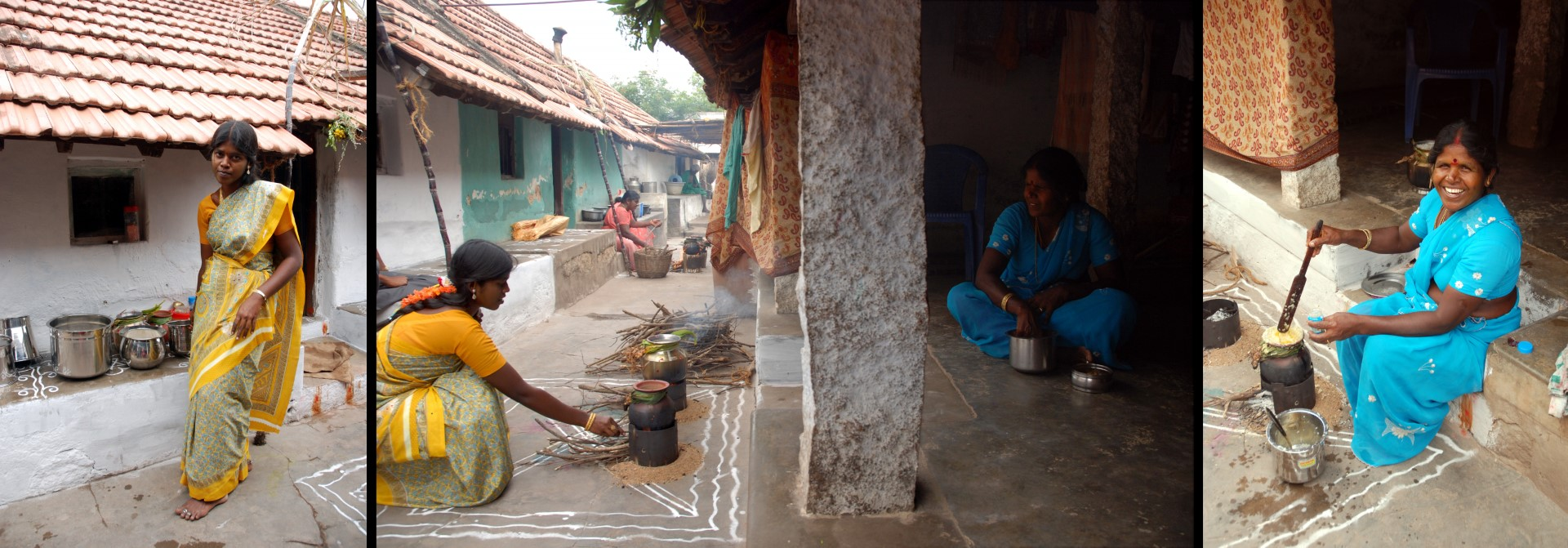 Indurani and Jayaretina making pongal in front of their home